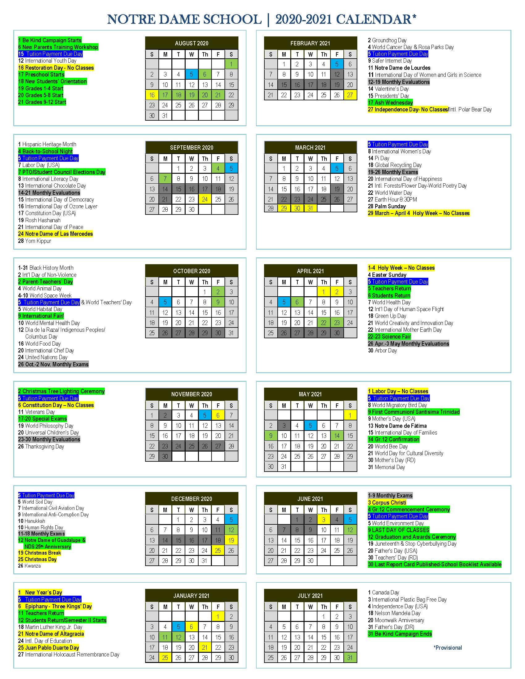 YEAR CALENDAR 2020-2021